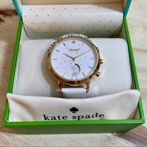 Kate Spade Cheers white leather hybrid smartwatch
